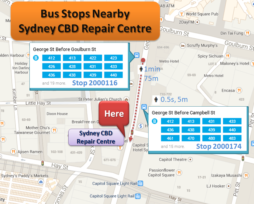 From Free Shuttle Bus Stops To Sydney CBD Repair Centre On Foot