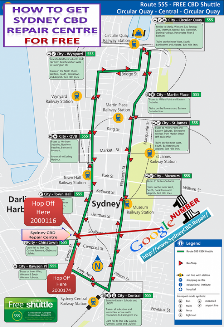 free shuttle bus to Sydney CBD Repair centre 748x1091