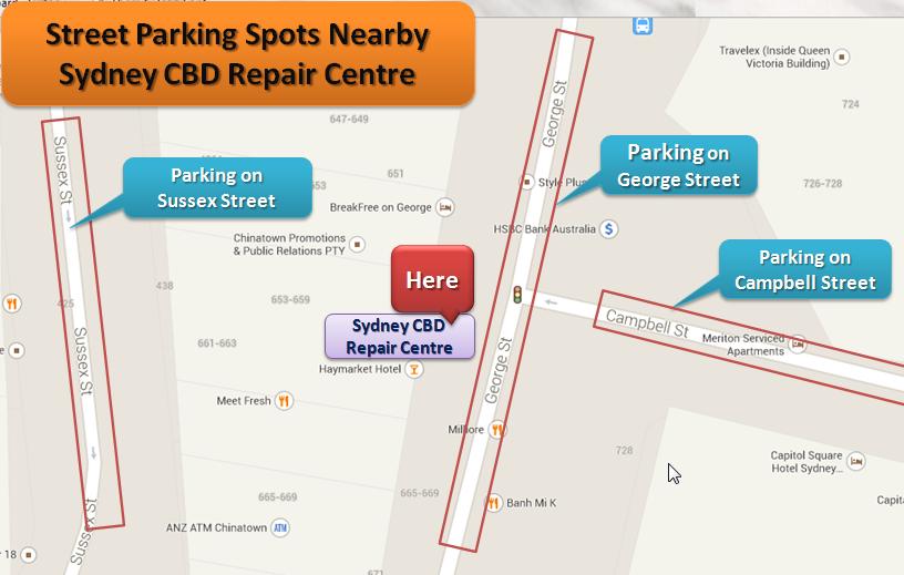 Street Parking Spots Nearby Sydney CBD Repair Centre