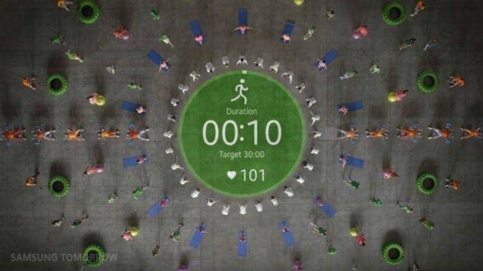 Epic Choreography Shot from Aerial View Personifies the Samsung Gear S2