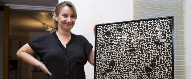 WP Julia Kosky with her artwork by Kate Scardifield purchased using Art Money 620x256