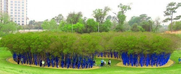 Blue forest raises awareness of urban greenery