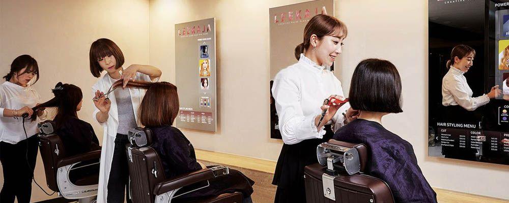 Samsung Mirror Display used in Hair Salon