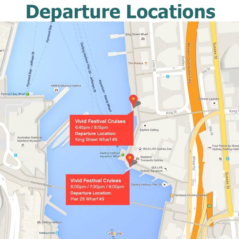 Vivid Sydney Fantasea Departure Map