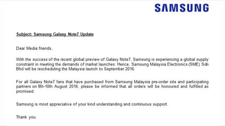 Samsung Malaysia postpones Note 7 launch