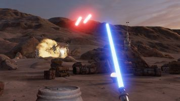 Defend the Millenium Falcon using your light saber!