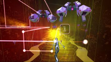 Get your groove on with some beats and techno music played as you shoot some projectiles coming your way.