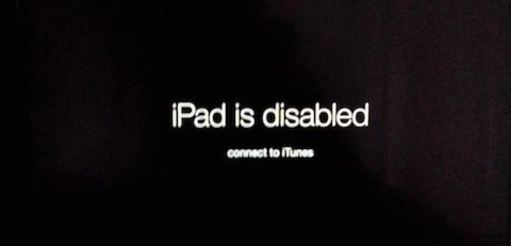 disabled ipad connect itunes